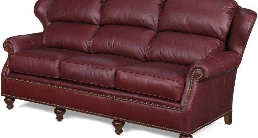 New Leather Sofa Bustle Back Wing Wood Dark Red
