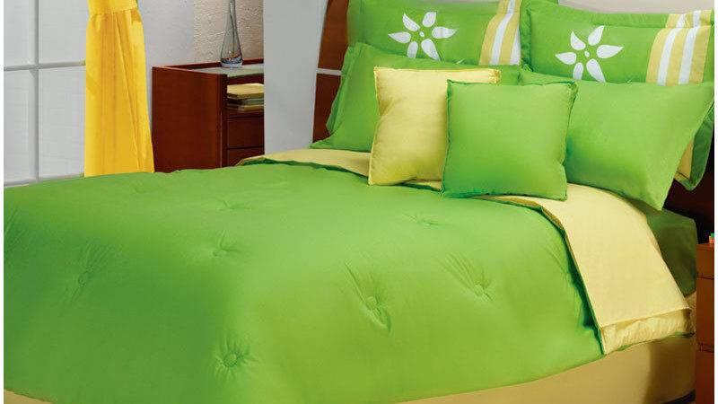 New Lime Green Yellow White Flowers Comforter Bedding Set