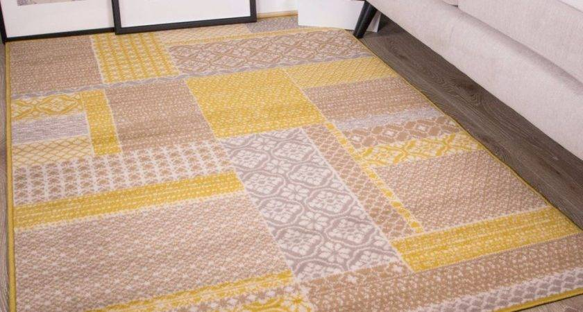 Ochre Mustard Yellow Gold Patchwork Squares Pattern Living