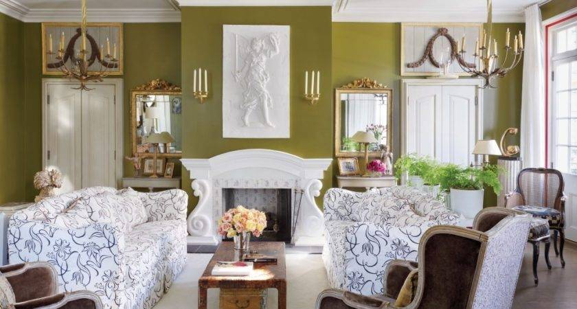Olive Green Walls Living Room Gold Lights Scones White