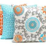 Orange Throw Pillow Covers Three Turquoise