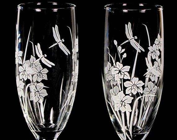 Orchid Dragonfly Wedding Set Champagne Glasses Cake
