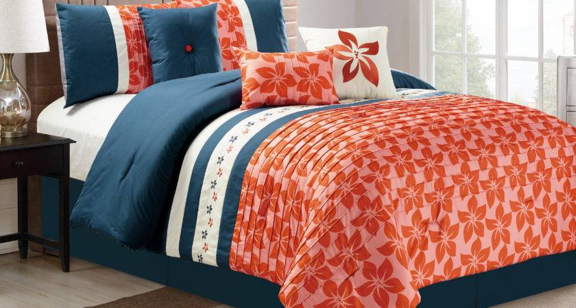 Orchid Tree Flower Pleated Embroidery Comforter Set
