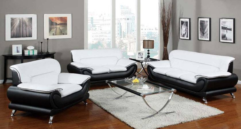 Orel White Black Bonded Leather Sofa Set Living Room
