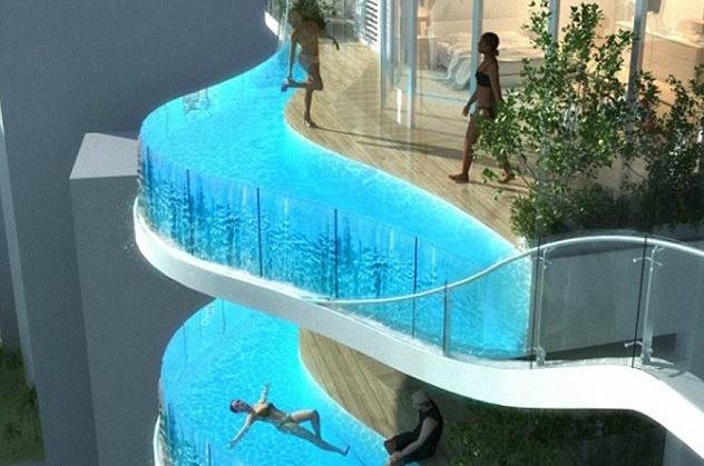 Out World Apartment Swimming Pool Balconies