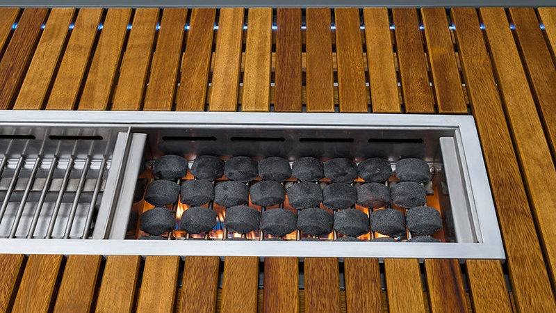Outdoor Table Has Built Bbq Grill Contemporist