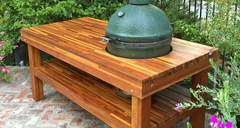 Outdoor Wood Table Built Grill Storage Forever