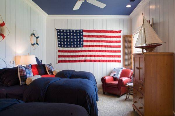 Painted Ceiling Accentuates Red White Blue Color