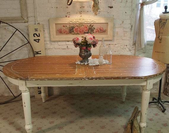 Painted Cottage Chic Shabby Farm Table Paintedcottages