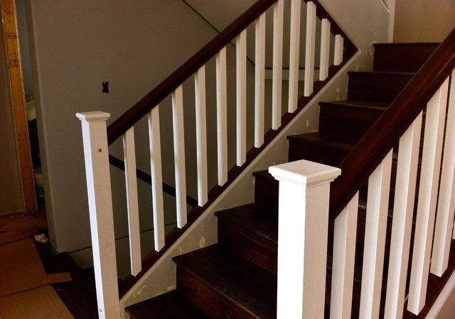 Painted Post Stained Oak Rail Contemporary