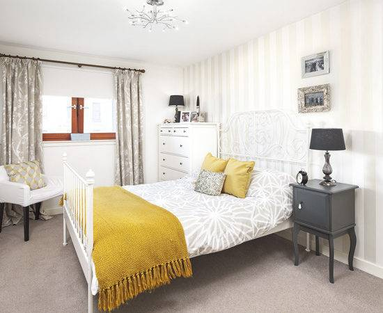 Pale Grey Bedroom Mustard Yellow Accents Ideal Home