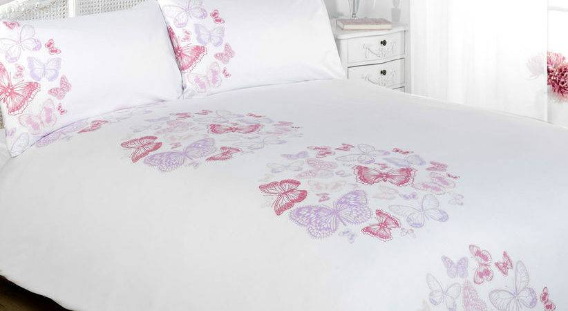Paloma White Pink Lilac Butterfly Duvet Cover Bedding