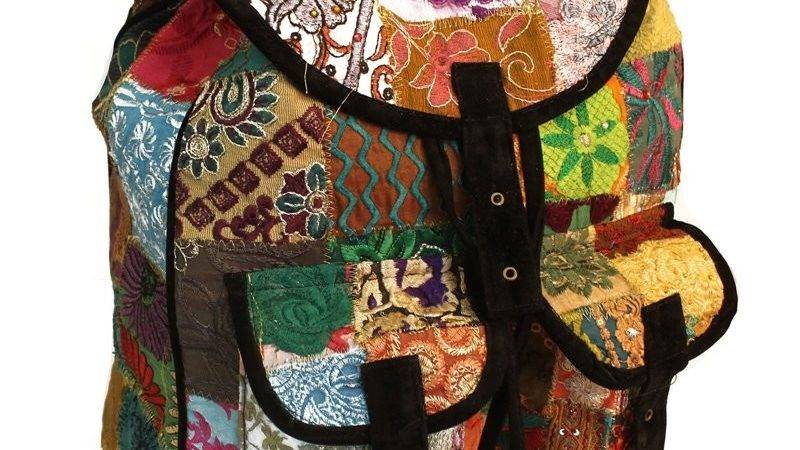 Patchwork Velvet Suede Backpack Available