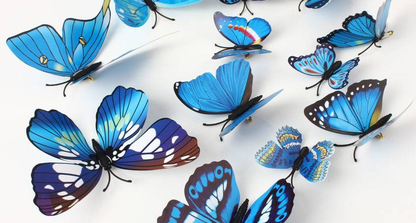 Pcs Blue Butterfly Wall Stickers Art Decals Home