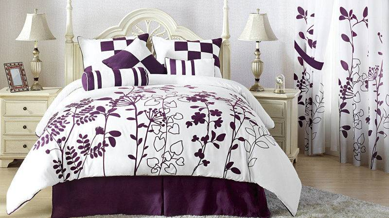Pcs Renee Purple White Bedding Comforter Set Ebay