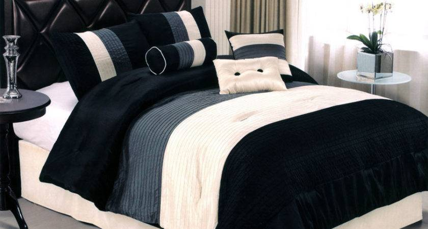Pcs Sleek Contemorary Striped Satin Comforter Set Black