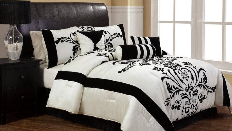Pcs Twin Salma Black White Flocking Comforter Set Ebay