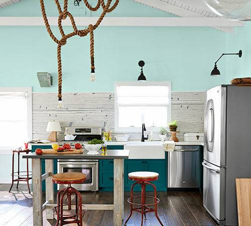 Peacock Blue Cabinets Country Kitchen Benjamin Moore