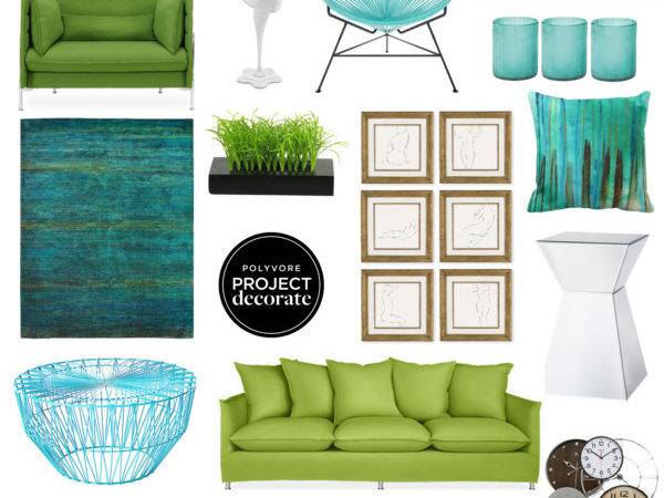 Peacock Color Inspired Living Room Polyvore