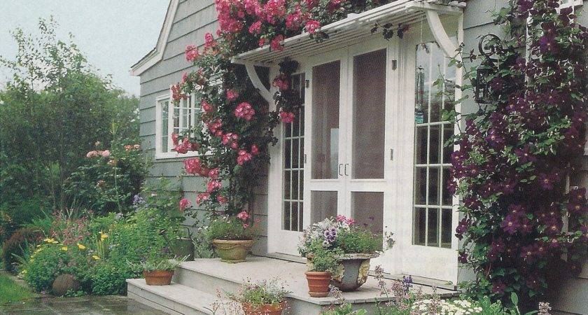 Pergola Roses Over French Door House Exterior