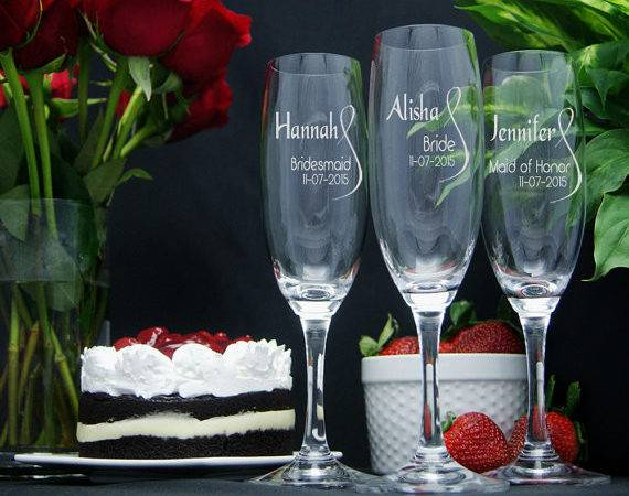 Personalized Champagne Glasses Engraved Wedding