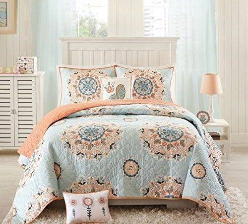 Piece Girls Light Blue Coral Pink Medallion Coverlet