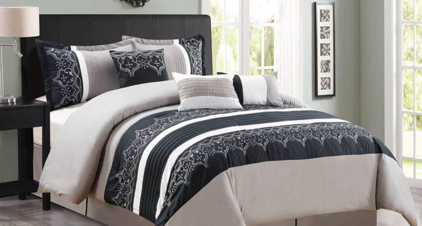 Piece Gray Black White Comforter Set