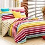 Piece Luxury Stripes Bedding Sets Multicolor