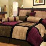 Piece Micro Suede Patchwork Duvet Cover Set Brown