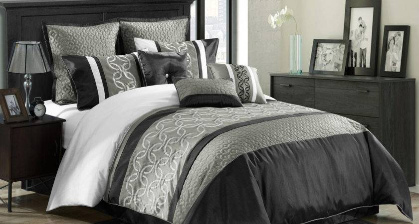 Piece Queen Bordeaux Black Gray White Comforter Set