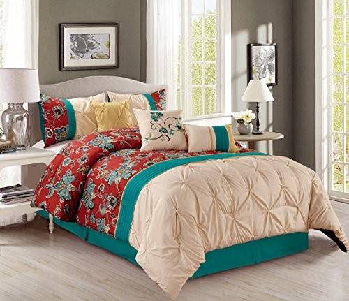Pinch Pleat Piece Bedding Teal Blue Brick Red Yellow