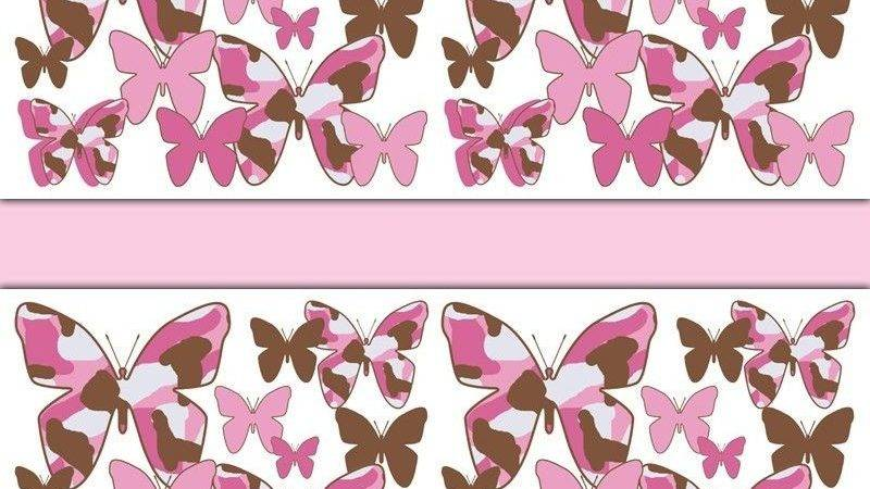Pink Brown Camo Butterfly Border Wall Decals