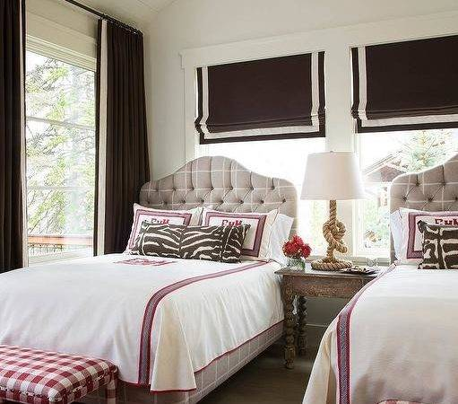 Pink Brown Girls Bedroom Gray Tufted Beds