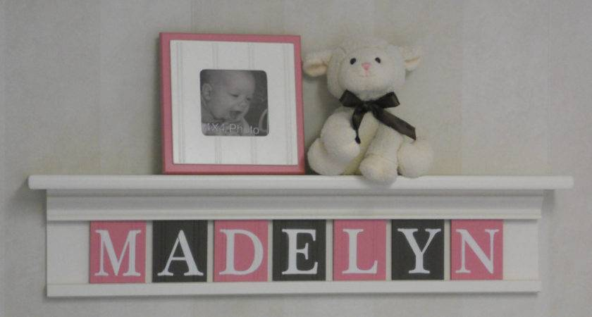 Pink Brown Nursery Art Wall Decor Personalized Kids Name