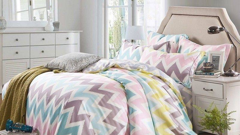 Pink White Bedding Set Bedroom Canopy Bed
