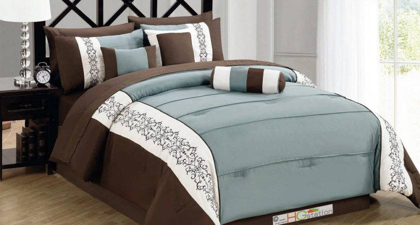 Pintuck Scroll Floral Embroidery Comforter Set Brown