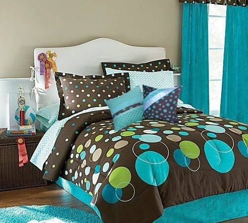 Polka Dot Brown Aqua Blue Lime Green Comforter