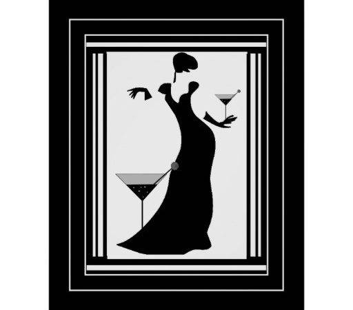 Poster Art Deco Lady Black White Zazzle