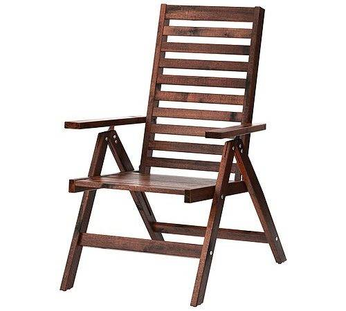 Pplar Reclining Chair Outdoor Foldable Brown Stained