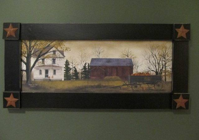 Primitive Country Rustic Large Framed Billy