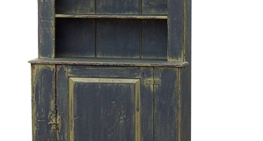 Primitive Hutch Step Back Cupboard Painted Country