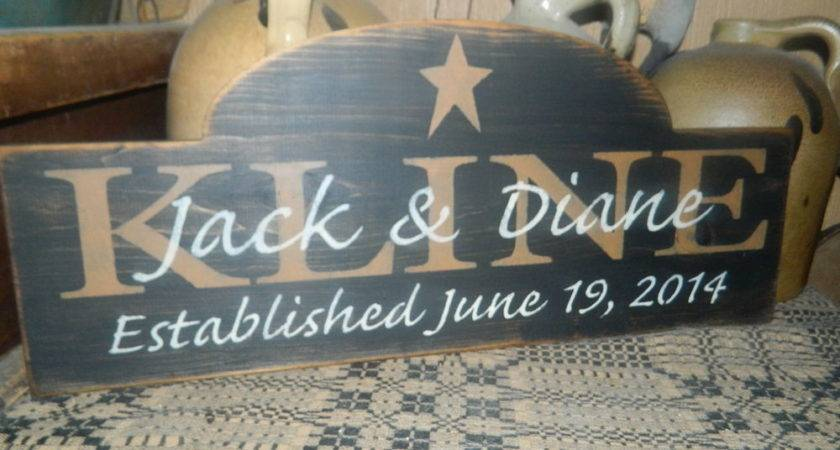 Primitive Sign Wedding Custom Names Date Romance