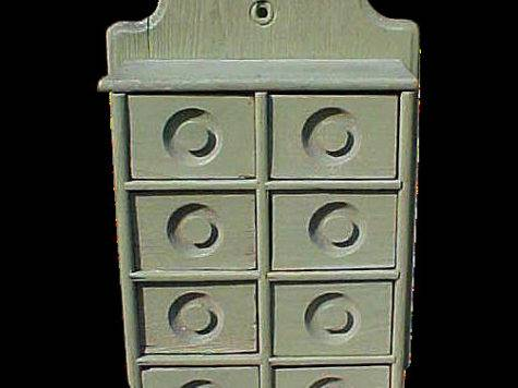 Primitive Spice Apothecary Cabinet Sage Green Paint