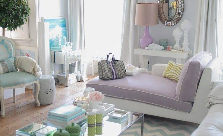 Purple Chaise Lounge Contemporary Living Room Ana