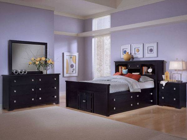 Purple Color Bedroom Ideas Black Furniture Home