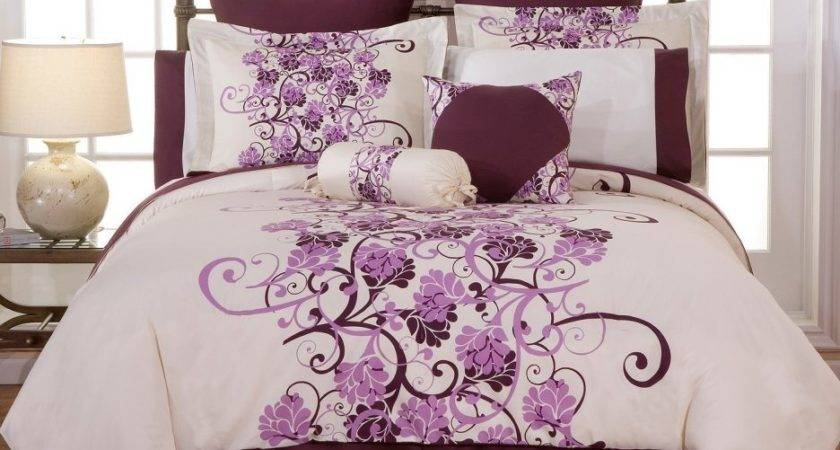 Purple White Bedding King Contemporary
