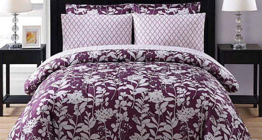 Purple White Floral Geometric Piece Comforter Bedding
