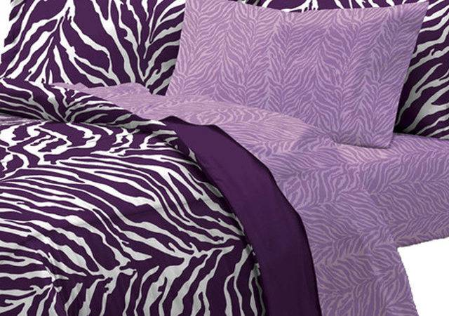 Purple Zebra Bedding Set Animal Print Bed