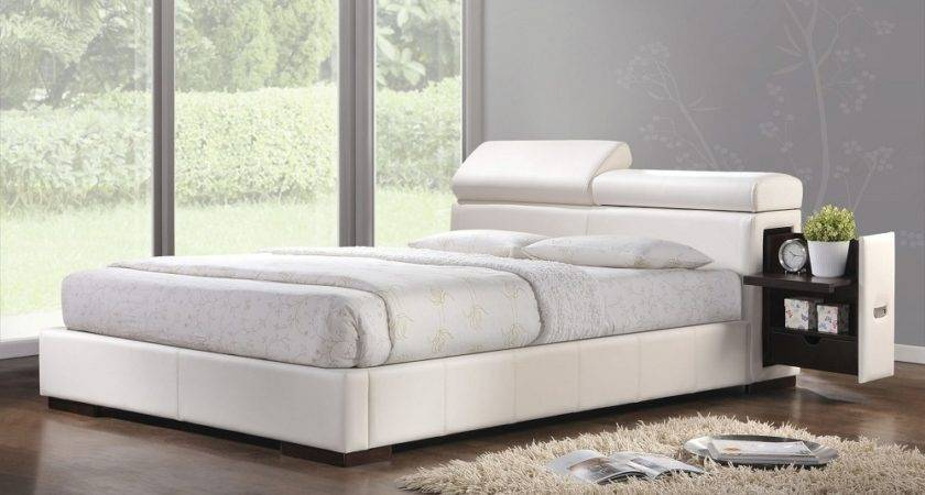 Queen Ultra Modern Soho White Leather Platform Bed