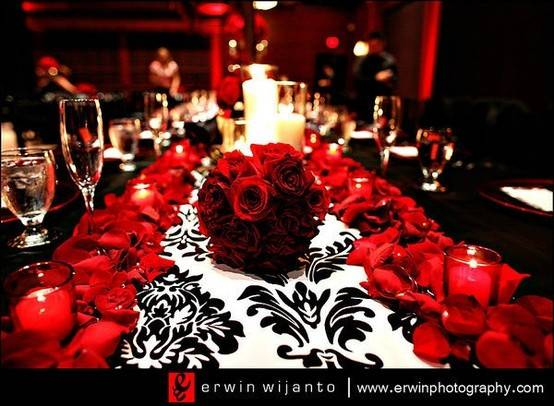 Reception Red Black Damask Tablescape Wedding Day